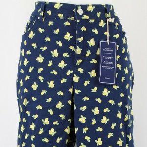 Charter Club Blue Lemon Print Capri Pants Size 16W